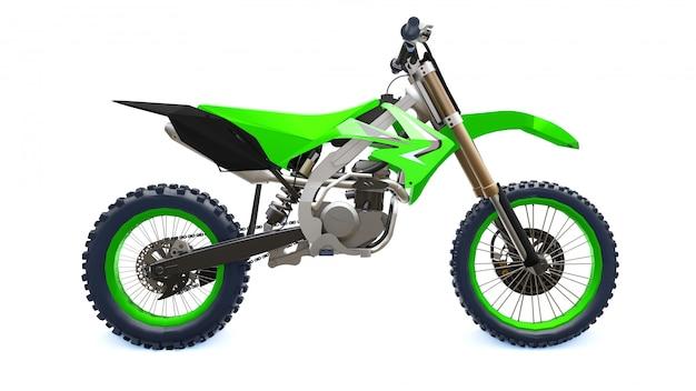 白い背景にクロスカントリーの緑と黒のスポーツバイク。レーシングsportbike。モダンスーパークロスモトクロスダートバイク