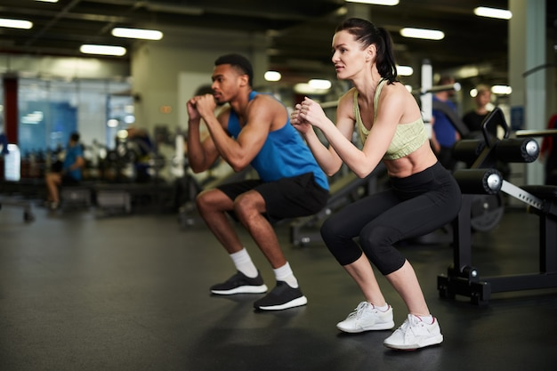 Sportive couple working out together