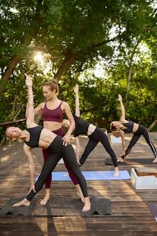 サマーパークでインストラクターと一緒にグループヨガトレーニングをしているスポーティーな女性