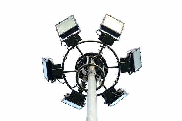 Sportlights tower on white background