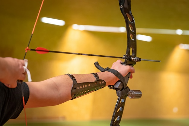 Sports archery at the shooting range, competition for the most points to win the cup