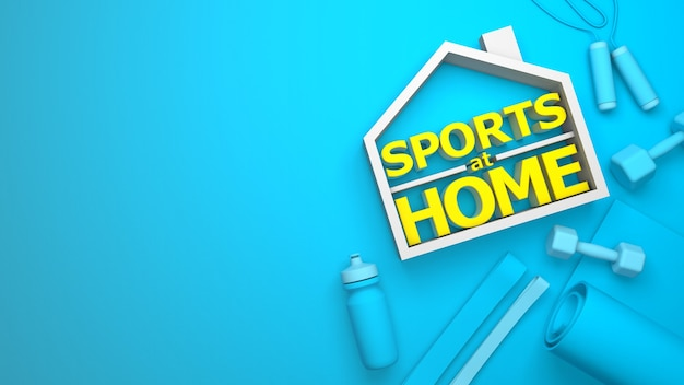 집에서 스포츠. 스포츠 장비 및 텍스트 장소. 아령, 병, 녹색 요가 매트. 3d 렌더링. 텍스트를위한 공간을 복사합니다.