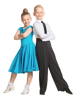 スポーツ社交ダンス社交ダンスの衣装を着たダンサーの男の子と女の子のカップルisolate
