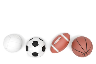 Sports balls with copy space isolated on a white background.