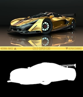 Вид спереди спортивный автомобиль. изображение спортивного золотого автомобиля на черном фоне. комбинированная иллюстрация обычного изображения и альфа-канала. растровая графика. трехмерная графика.