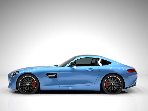 Вид слева спортивный автомобиль. изображение спортивной синей машины на белом фоне