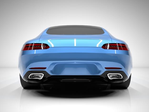 Вид сзади спортивный автомобиль. изображение спортивной синей машины на белом фоне