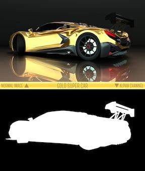 Вид сзади спортивный автомобиль. изображение спортивного золотого автомобиля на черном фоне. комбинированная иллюстрация обычного изображения и альфа-канала. растровая графика. трехмерная графика.
