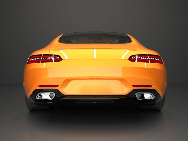Вид сзади спортивный автомобиль. изображение спортивной золотой машины на сером фоне