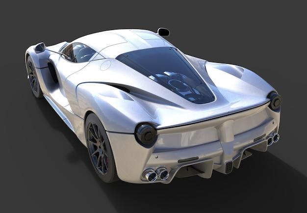 Вид сзади спортивный автомобиль. изображение серого спортивного автомобиля на черном фоне. 3d иллюстрации.