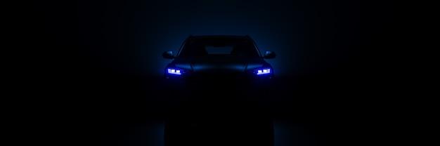 어두운 배경 3d 렌더링에 스포츠카 스튜디오 설정