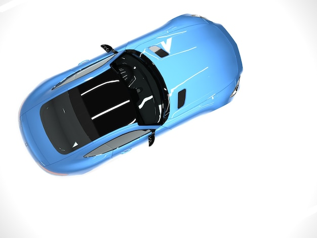 Вид сверху спортивный автомобиль. изображение спортивной синей машины на белом фоне