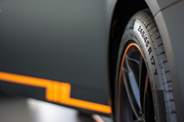 Sports car wheel view