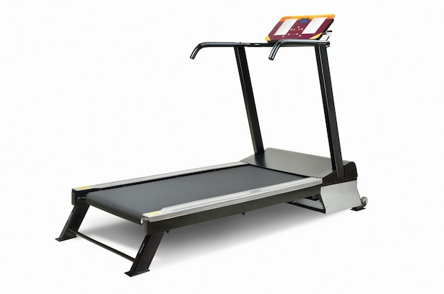 Sports electronic treadmill isolate on white background