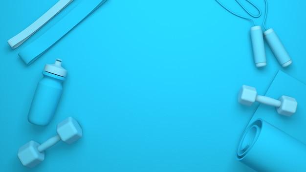 스포츠 장비 및 텍스트 장소. 아령, 병, 녹색 요가 매트. 3d 렌더링. 텍스트를위한 공간을 복사합니다.