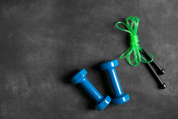 Sports equipment on a black background