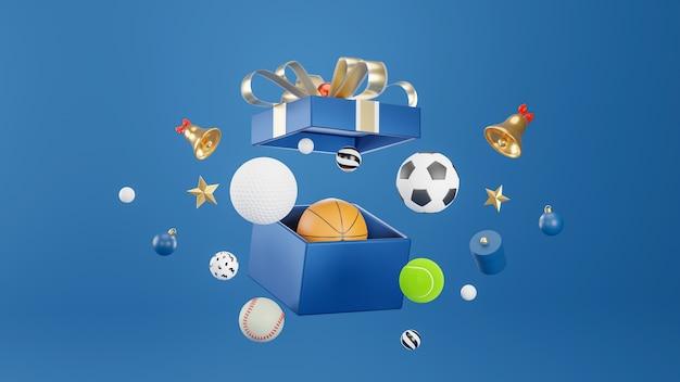 Спортивный инвентарь, вываливающийся из подарочной коробки на синем в 3d-рендеринге