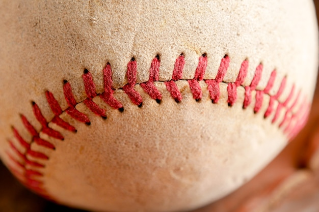 Sports equipment old baseball background texture