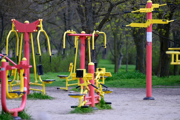 Sports equipment in a public park without people, an empty playground during a pandemic and epidemic. lockdown time