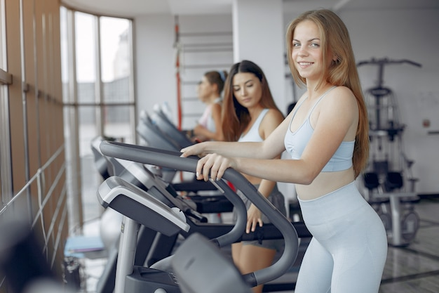 Sports girls training in a morning gym