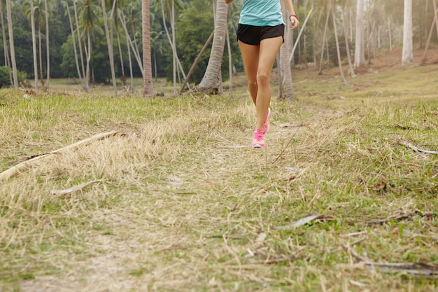 Sports and healthy lifestyle concept. cropped view of tanned female jogger in sportswear and pink sneakers training in rural area.