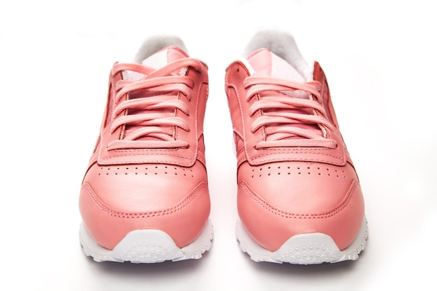 Sports leather sneakers. free style. classic. fashion. pink and