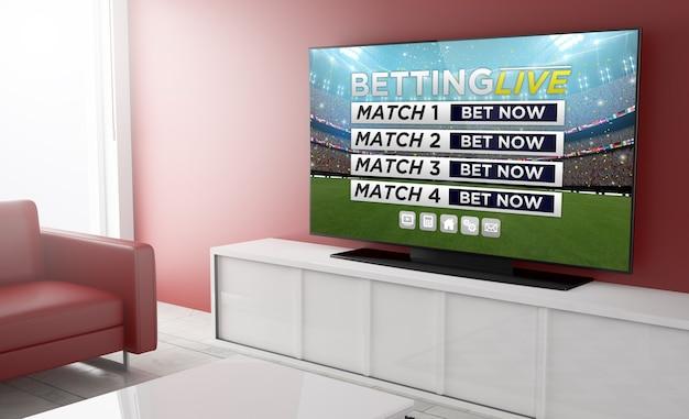 居間のテレビでのスポーツくじ