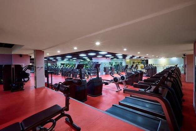 Sports simulators equipment in interior of the gym