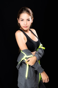 Sports woman in fashion sportswear.
