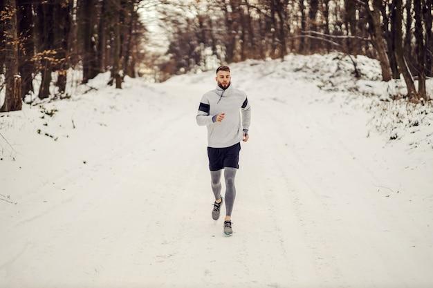 冬の森の雪道をジョギングするスポーツマン。ウィンタースポーツ、健康的な習慣、アウトドアフィットネス