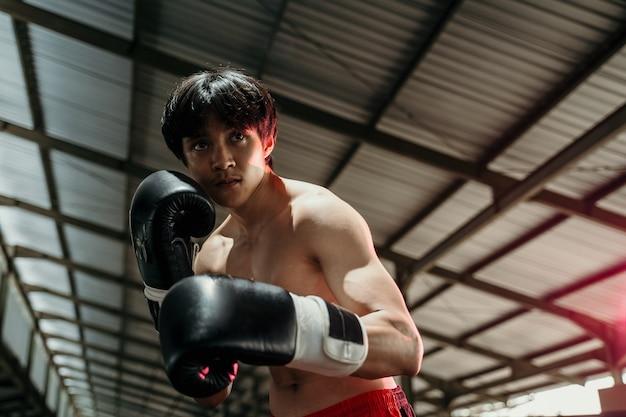 Copyspace와 권투 케이지에서 장갑에서 싸우는 스포츠맨 무에타이 권투 선수