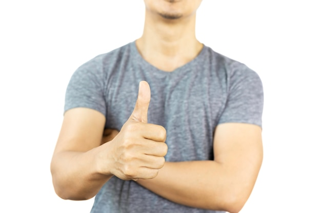 Sportsman standing with thumb up isolated in clipping path.