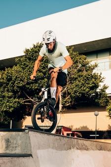 Sportsman training in skatepark