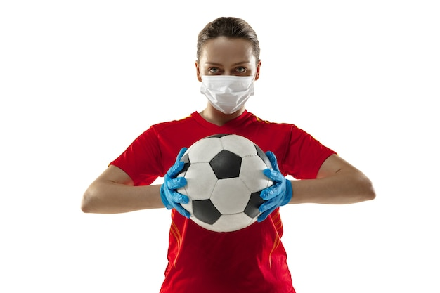 Sportswoman in protective mask coronavirus illustration concept
