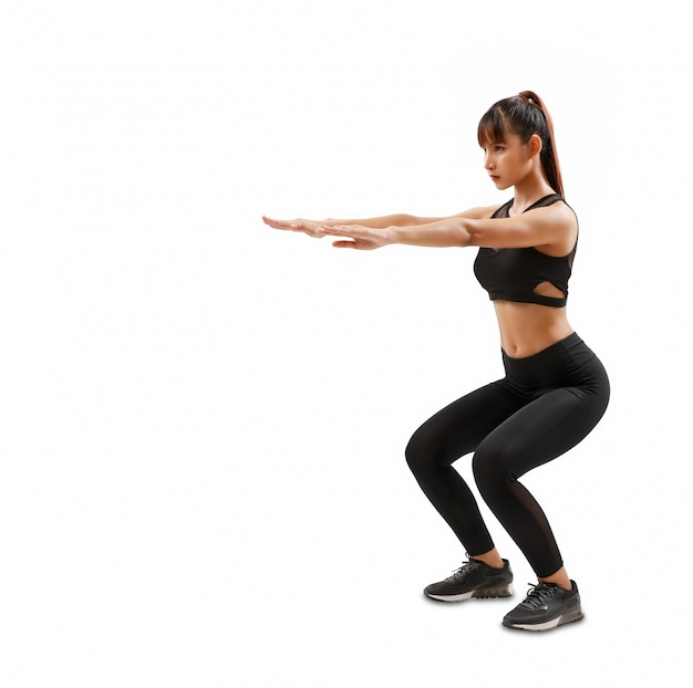Sporty and attractive woman do fitness exercise isolated