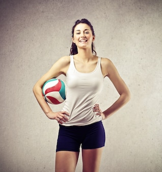 Sporty pretty volleyball player