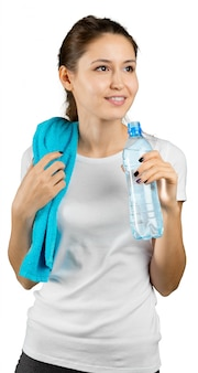 Sporty woman with water