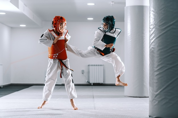 Sporty кавказские мальчики имея тренировку тхэквондо в белом спортзале. один мальчик пинает другого.