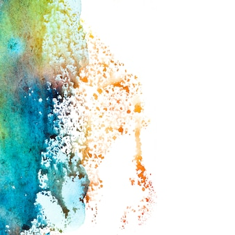 Spot of colorful watercolor on white background