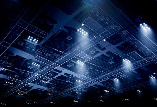 Spot light on interior roof of exhibition hall