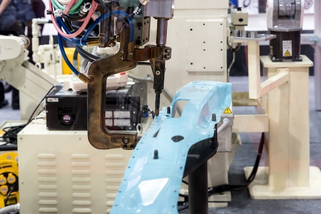 Spot welding machine for automotive industry in factory. smart factory.