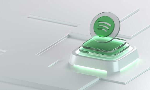 Spotify 유리 기하학 모양 3d 아이콘 렌더링