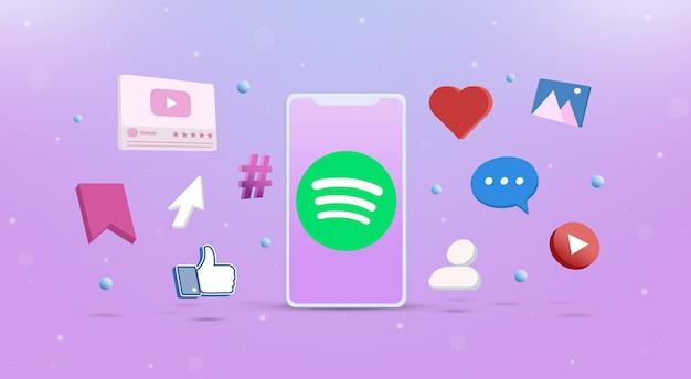 Значок логотипа spotify на телефоне со значками социальных сетей вокруг 3d