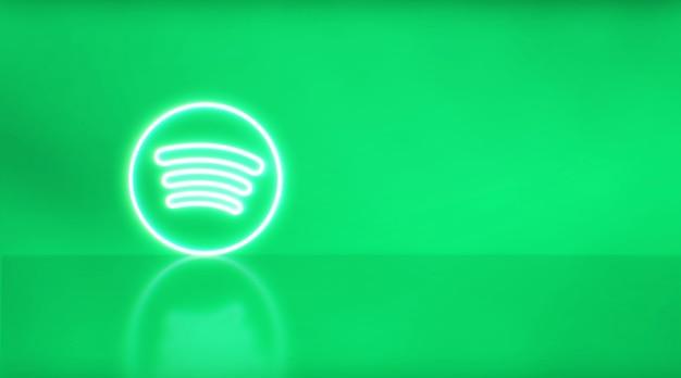 Неоновый логотип spotify с местом для текста и графики. зеленый фон.