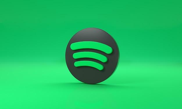 Логотип spotify с пространством для текста и графики на зеленом фоне. 3d-рендеринг.