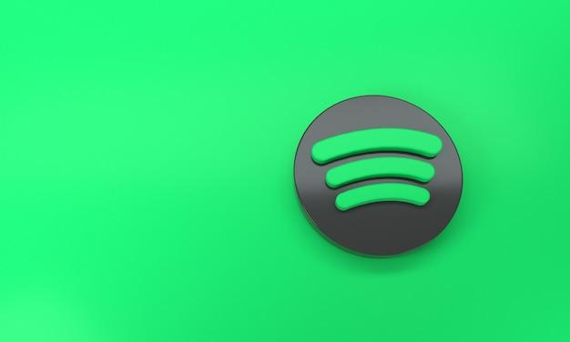 Логотип spotify с пространством для текста и графики на зеленом фоне. вид сверху. 3d-рендеринг.