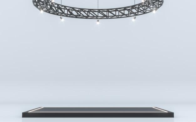 무대 배경과 램프를 스포트 라이트. 3d 렌더링
