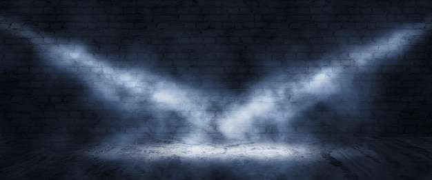 Spotlights and smoke on black background