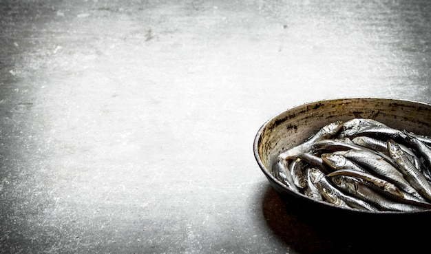 Sprat in old pan on stone table.