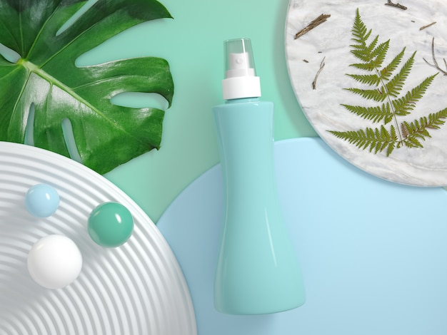 Spray package on pastel background with plants 3d render